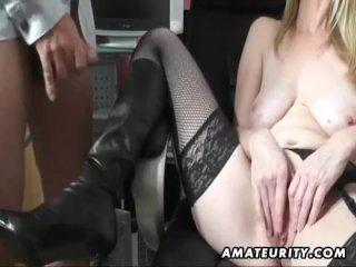 Busty amateur MILF sucks and fucks