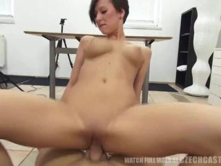 Busty Czech rides the cock
