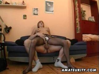 Hot amateur Milf masturbates, sucks and fuck