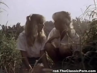 Classic porn in the forest with two ladies