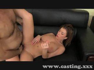 Horny amateur sucks and fucks in casting