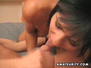 Amateur Milf sucks and fucks a pierced cock
