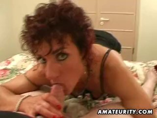 Naughty amateur wife plays with cum in mouth