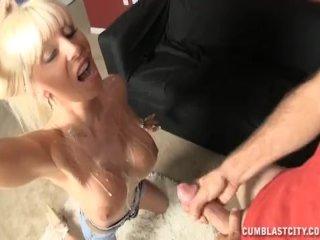 Busty lady gets cum splattered