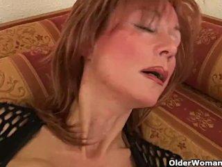 MILF with big tits masturbates