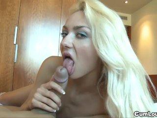 Blonde pleasuring hard cock
