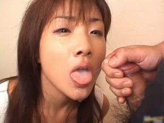 Super hot asian babe slurping cum off