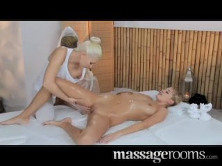 Massage Rooms – Two lesbians oil each other