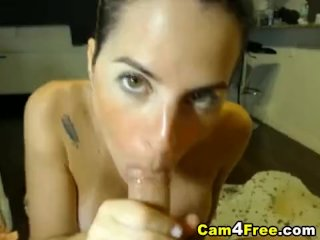 Babe gets loads of cum on her face