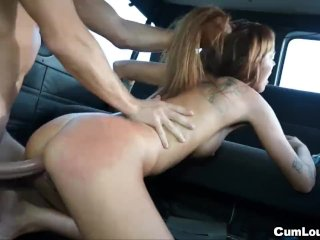 Ginger amateur woman fucked in a van