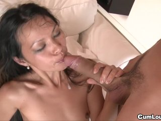 Skinny asian chick gets DP'd by two Big Dick