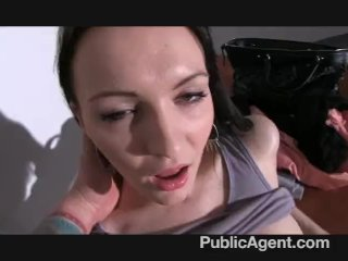 PublicAgent – Black haired babe fucks hard