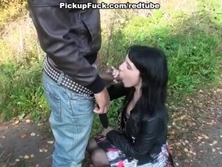 Young student sucking dick on the street