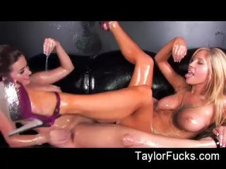 Hot lesbians use glitter baby oil to fuck