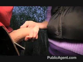PublicAgent – Evelyn strips off outside