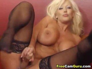 Busty Blonde MILF Masturbating