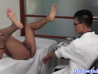 Ethnic twink doctor toys his asshole