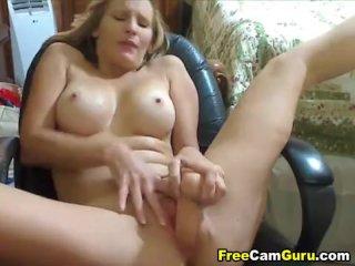 Busty Milf Masturbates With Dildo
