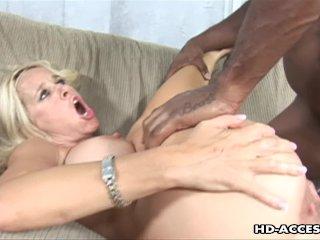 Luscious blonde milf rides a huge black cock