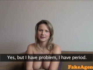 FakeAgent Blonde amateur babe fucks on period
