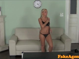 FakeAgent Hot Blonde babe massages cock