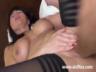 Busty brunette milf fisted in her loose twat
