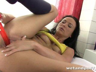 Screaming orgasm for milf riding huge dildo