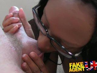 FakeAgentUK Sexy ebony chick takes a cock