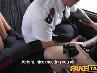 FakeTaxi Brunette has backseat threesome