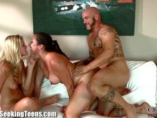 Horny MILFY Redhead and Husband Fuck Teen
