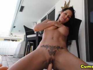 Big Tits Babe Plays with her Dildo