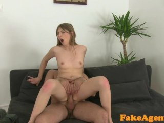 FakeAgent Shy blonde babe takes first facial