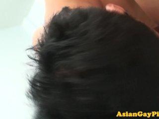 Pissing asian twinks bareback action closeup