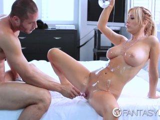 Hot blonde Tasha Reign oiled body massage