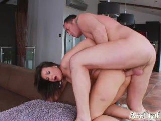 Ass Traffic brunette is fucked in the ass