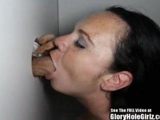 Freckle Skank Sucking Dick in Glory Hole