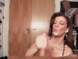 Sara Jay Sucks Cock in the Closet