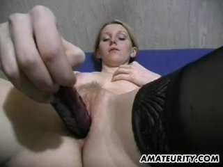 Busty amateur girlfriend toys and gives hand