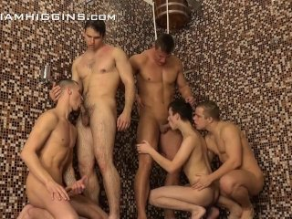 5 horny hunks have fun in the shower at Party