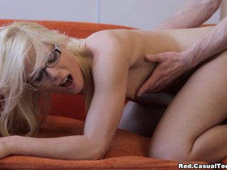 Nerdy coed hungry for cock