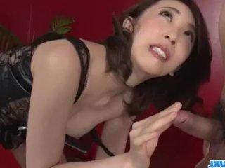 Aya Kisaki, wife in lingerie, blows a big dic