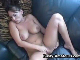 Busty amateurs Leslie on masturbation