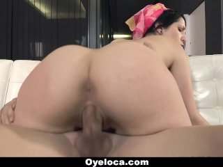 Latina Cleaner Cleans House And Cock!
