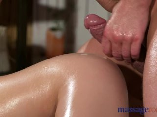 Massage Rooms Young natural tits brunette has leg shaking orgasm