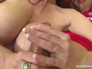 Busty redhead milf handjob