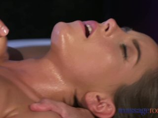 Massage Rooms Brunette with big natural tits has intense orgasm