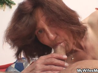 She finds old mother in law rides her man's cock