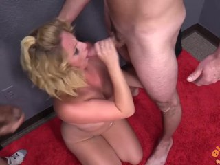 Dirty Blonde Sucking Multiple Cocks and Taking Facials