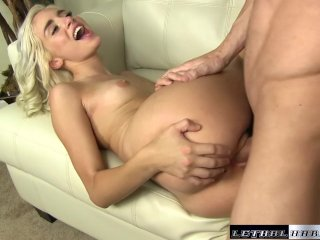 Naomi catches guy filming her nude tanning, then milks cock