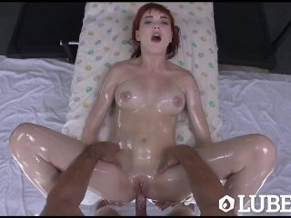 LUBED – Redhead Anny Aurora lift her short skirt to lube up her pussy
